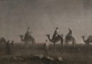 """Star of Bethlehem, Magi - wise men or wise kings travel on camels with entourage across the deserts to find the savior, moon, desert, Holy Bible, Etching, 1885 Attributed to Wonderlane, downloaded from flikr https://creativecommons.org/licenses/by/2.0/"""