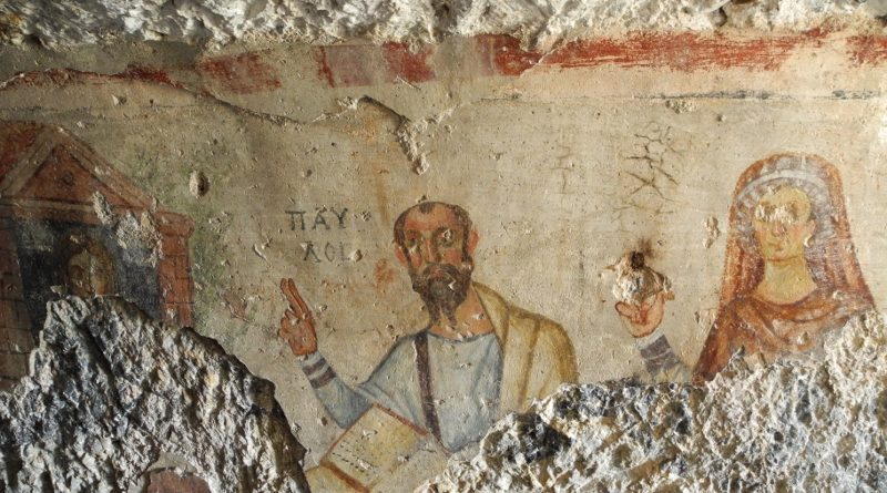 A 5th-6th c. CE fresco in the Ephesus Paul and Thecla grotto.