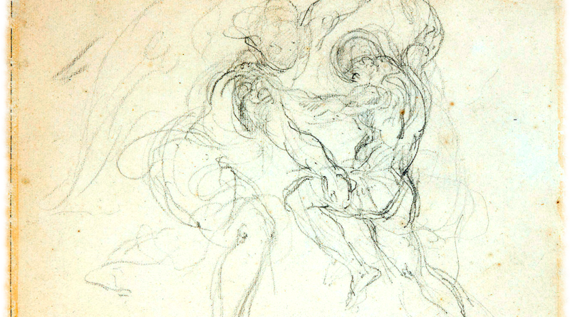 Eugène Delacroix : Study for Jacob Wrestling with the Angel, 1850-1856. From artwork in the public domain.