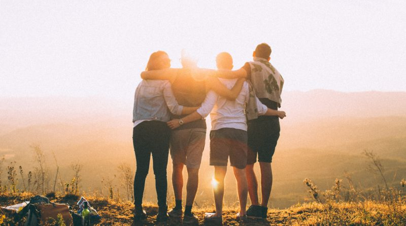 friends, together, group, four, sunrise