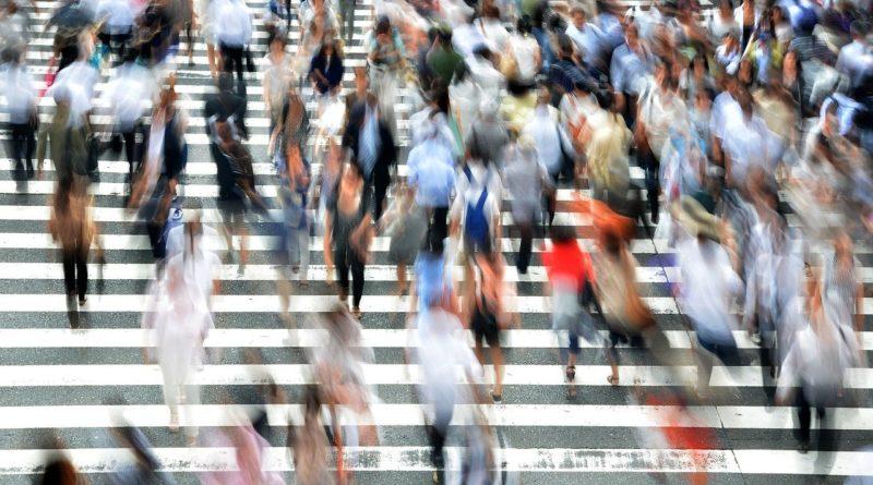 pedestrians, crossing, busy