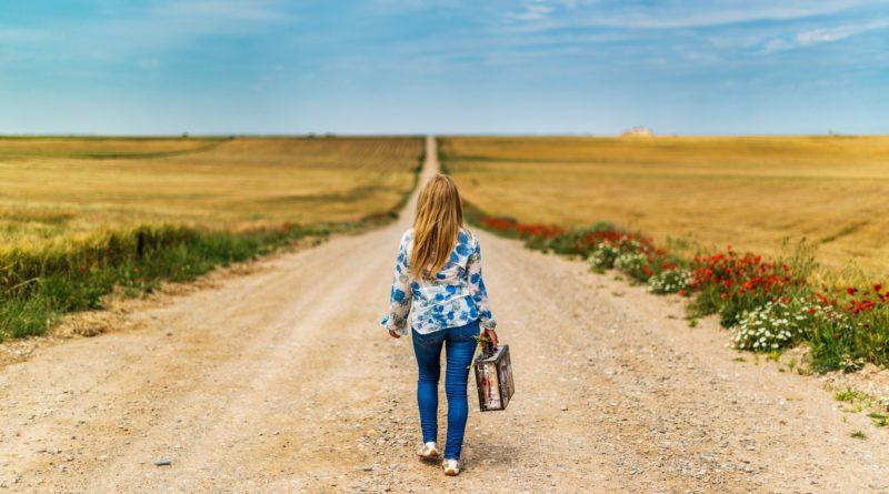 Girl long road journey