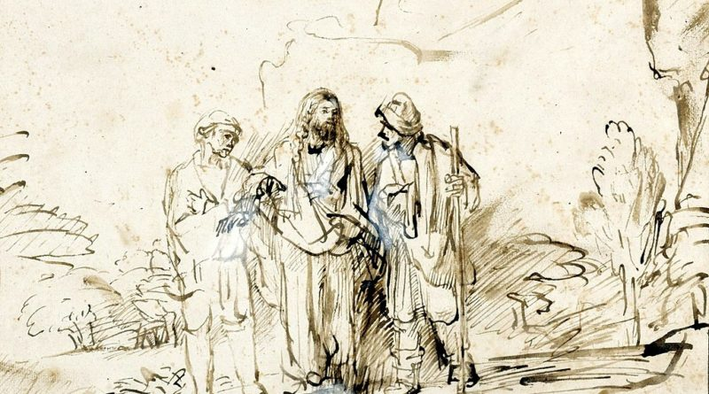 Christ with two disciples on the road to Emmaus (Rembrandt)