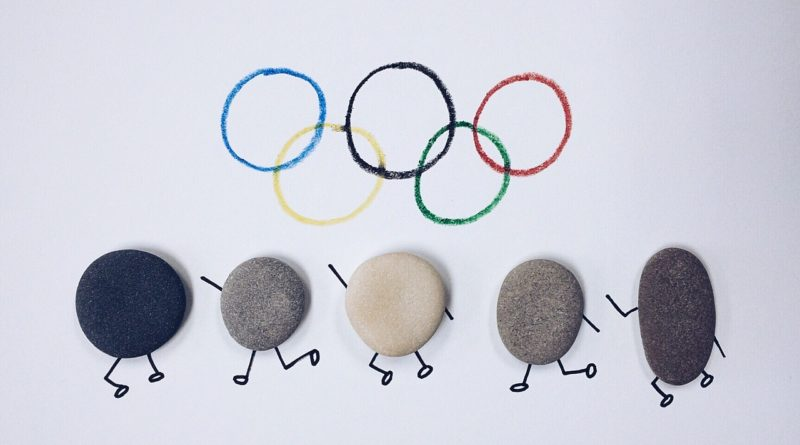 Olympic rings and stones